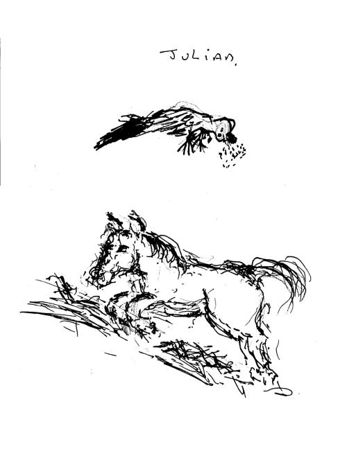 Julian dead bird & Jean horse