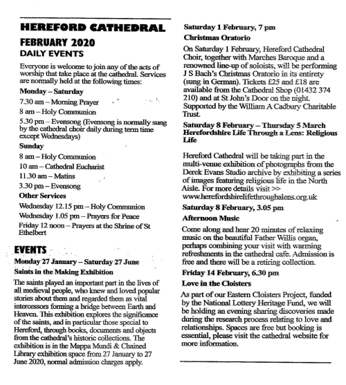 Hereford Cathedral events