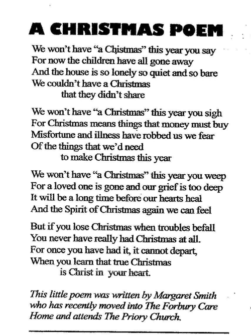 M. Smith Poem - A Christmas Poem